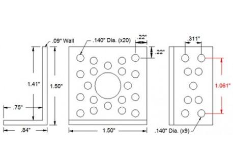 Estructura de aluminio - Ángulo 90 grados (Corto)