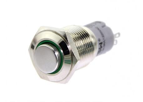 Pulsador 16mm cromado iluminado (Verde)