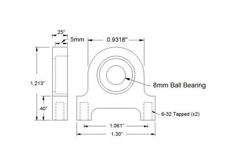 Soporte con rodamiento - Pillow 8mm