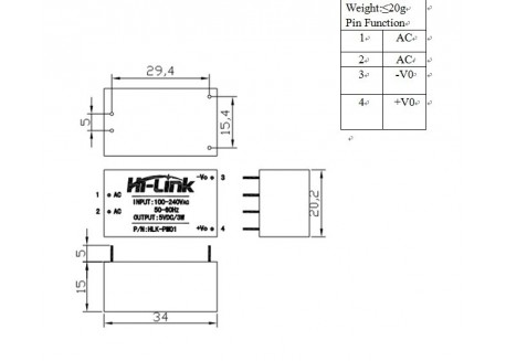 Mini transformador 220V, 3.3V, HLK-PM03