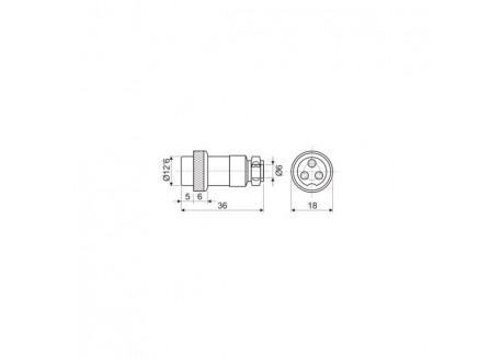 Conector GX16 4 pines - Hembra