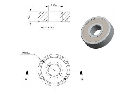 Rodamiento 608-2RS (8x22x7mm)