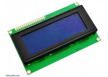 Pantalla LCD 20x4 caracteres blanco sobre azul basa en el HD44780