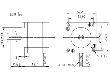 Motor paso a paso 9 Kg/cm, Nema 23