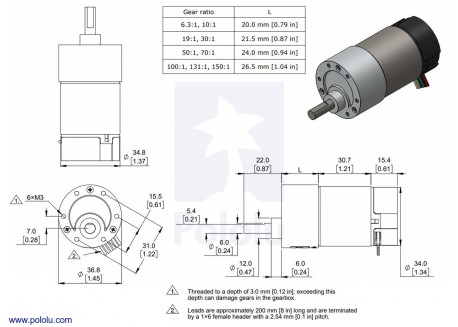 Motor con reductora 150:1 con encoder
