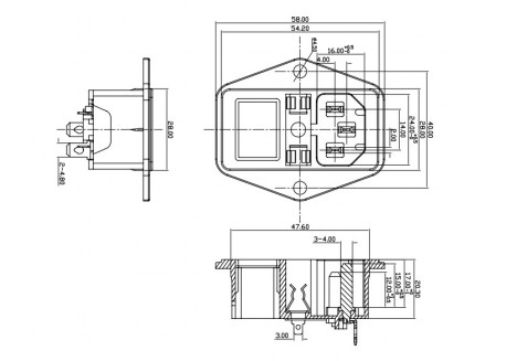 Enchufe IEC320 C14 con fusible