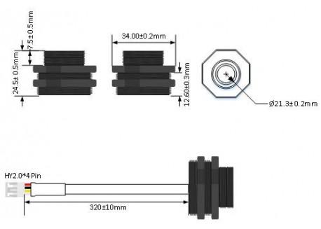 Sensor de distancia A01NYUB impermeable IP67