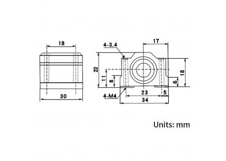 Dimensiones rodamiento lineal SC8UU