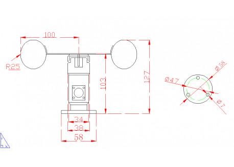 Anemómetro RS485 con cable
