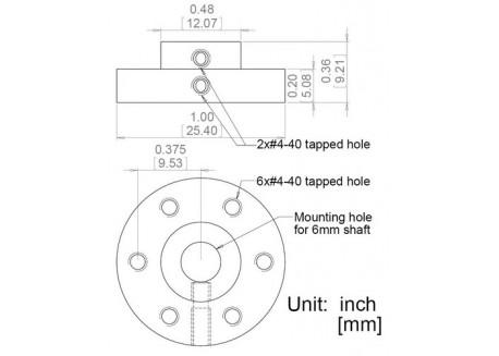 Soporte de eje 6mm para Gearmotor